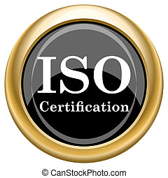 ISO certification - Shiny glossy icon with white design on ...