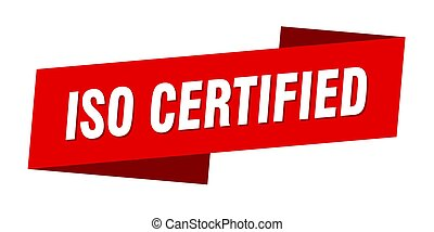 iso certified banner template. ribbon label sticker. sign