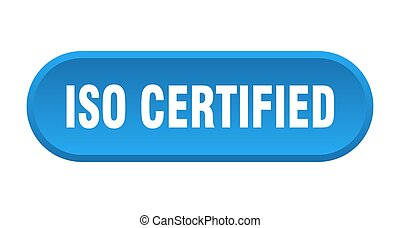 iso certified button. rounded sign isolated on white background