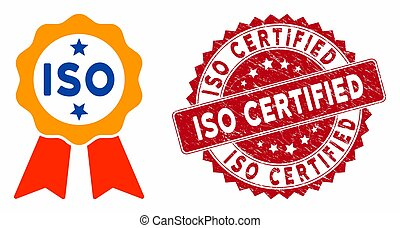 ISO Certified Icon with Scratched ISO Certified Seal