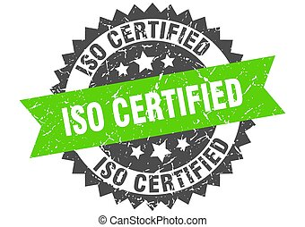 iso certified stamp. round grunge sign with ribbon