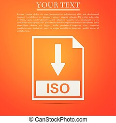 ISO file document icon. Download ISO button icon isolated on orange background. Flat design. Vector Illustration