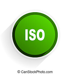 iso flat icon with shadow on white background, green modern design web element