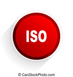 iso flat icon with shadow on white background, red modern design web element
