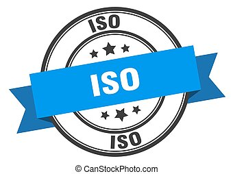 iso label sign. round stamp. ribbon. band