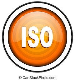 iso orange glossy icon isolated on white background