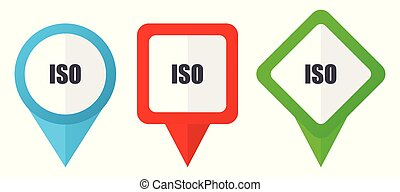 ISO red, blue and green vector pointers icons. Set of...