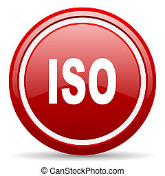 iso red glossy icon on white background - red glossy circle ...