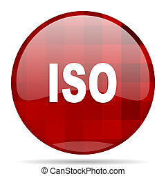 iso red round circle glossy modern design web icon
