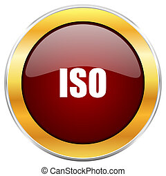 ISO red web icon with golden border isolated on white background. Round glossy button.