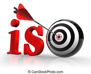iso red word with target on white background. clipping path...