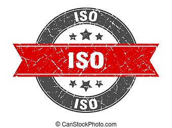 iso round stamp with ribbon. sign. label