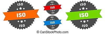 iso sign. round ribbon label set. Stamp