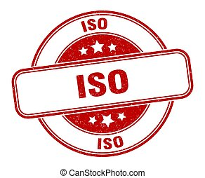 iso stamp. iso sign. round grunge label