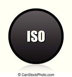 ISO vector black icon. Round sign. Web  symbol.