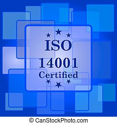 ISO14001 icon. Internet button on abstract background.