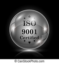 ISO9001 icon - Shiny glossy icon - glass ball on black...