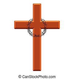 Isoalted cross with a crown of thorns