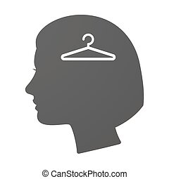 Isoalted female head icon with a hanger