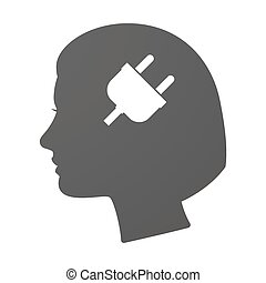 Isoalted female head icon with a plug