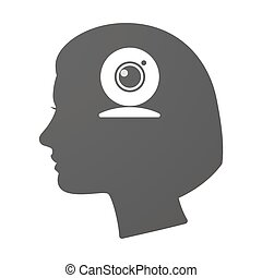 Isoalted female head icon with a web cam