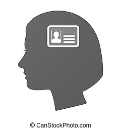 Isoalted female head icon with an id card