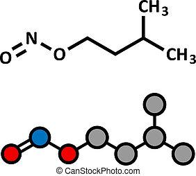 Isoamyl nitrite popper drug molecule. Also used as antidote ...