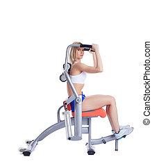 isodynamic, exerciser, loiro, mulher, jovem