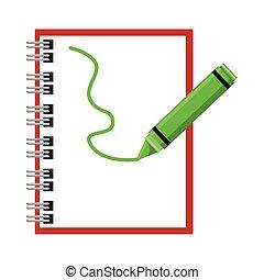 isolé, école, crayon, fourniture, icône, cahier