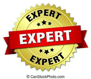 isolé, écusson, rond, or, expert