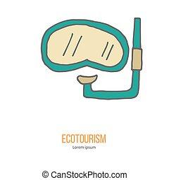 isolé, élément, vecteur, conception, blanc, ecotourism