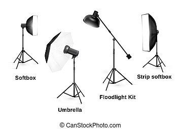 isolé, équipement, éclairage, fond, studio, blanc