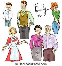 isolé, 2, ensemble, membres famille
