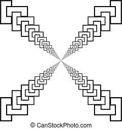 isolé, 2, perspective, labirinth, blanc, chaînes