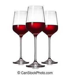 isolé, 3, blanc, lunettes, vin rouge