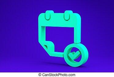 isolé, 3d, arrière-plan., bleu vert, concept., calendrier, icône, render, minimalisme, chèque, illustration, marque