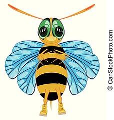 isolé, abeille, insecte, fond, blanc, dessin animé