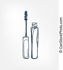 isolé, agrafe, ligne, mascara, vecteur, produits de beauté, art