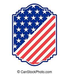 isolé, américain, bouclier, icône