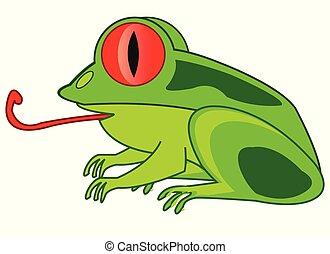 isolé, animal, grenouille, fond, blanc, dessin animé