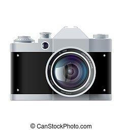 isolé, appareil photo, analogue, fond, blanc, pellicule
