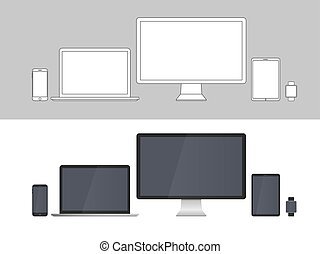 isolé, appareils, écrans, fond, blanc, électronique