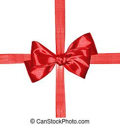 isolé, arc, arrière-plan rouge, ruban blanc