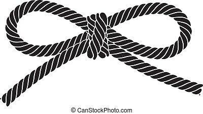 isolé, arc, corde, arrière-plan., vecteur, noir, blanc