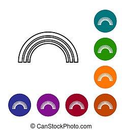isolé, arc-en-ciel, icône, noir, blanc, ensemble, icônes, cercle, buttons., vecteur, arrière-plan., couleur, ligne, illustration