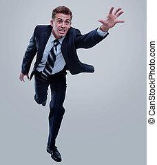 isolé, arrière-plan., courant, businessman., blanc, heureux