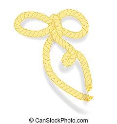 isolé, arrière-plan., fins, déguenillé, corde, blanc, arc