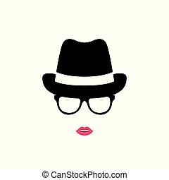 isolé, arrière-plan., girl, chapeau, blanc, lunettes