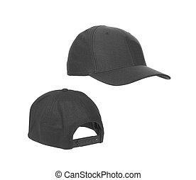 isolé, arrière-plan noir, vide, chapeau blanc