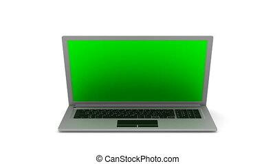 isolé, arrière-plan., ordinateur portable, render, 3d, blanc